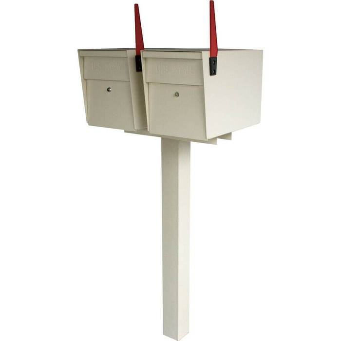 Double Mailboss High Security Mailbox with Post White