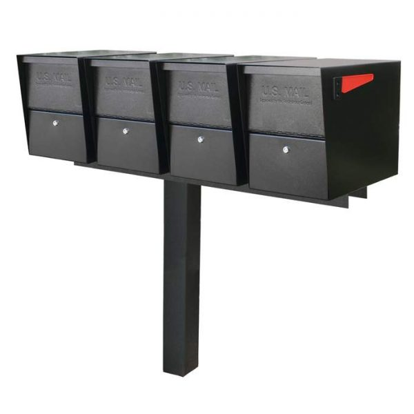 4 Mail Boss Locking Package Master with Post Black