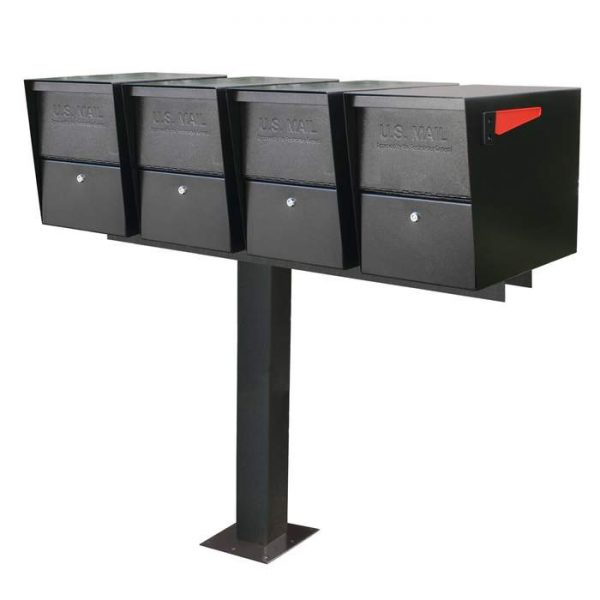 4 Mail Boss Locking Package Master with Post Black Surface Mount