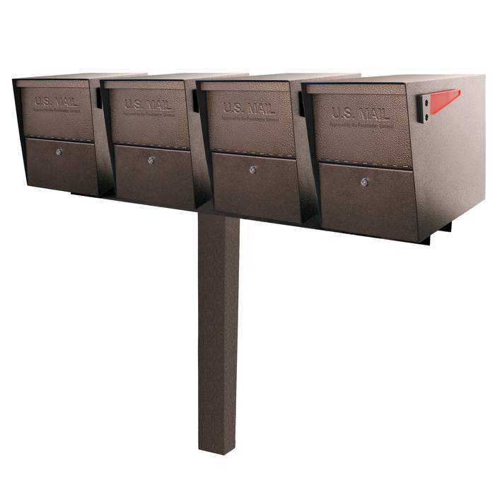 4 Mail Boss Locking Package Master with Post Bronze