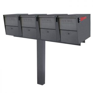 4 Mail Boss Locking Package Master with Post Granite