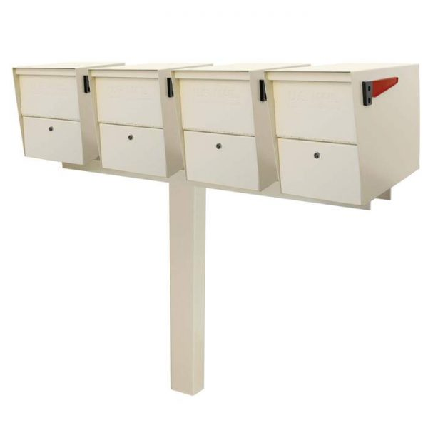 4 Mail Boss Locking Package Master with Post White