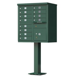 12 Door Florence Vital 1570-12 Series USPS Approved (CBU) Cluster Mailboxes with Pedestal Green