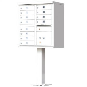 12 Door Florence Vital 1570-12 Series USPS Approved (CBU) Cluster Mailboxes with Pedestal White