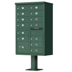 13 Door Florence Vital 1570-13 Series USPS Approved (CBU) Cluster Mailboxes with Pedestal Green