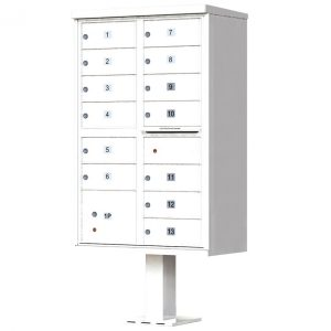 13 Door Florence Vital 1570-13 Series USPS Approved (CBU) Cluster Mailboxes with Pedestal White