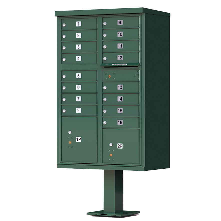 16 Door Florence Vital 1570-16 Series USPS Approved (CBU) Cluster Mailboxes with Pedestal Green