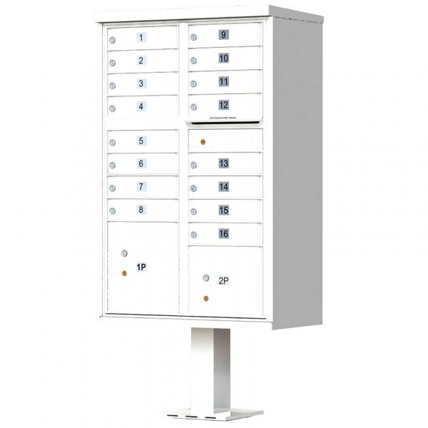 16 Door Florence Vital 1570-16 Series USPS Approved (CBU) Cluster Mailboxes with Pedestal White
