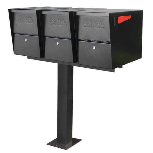 3 Mail Boss Locking Package Master Mailboxes with Post Black Surface Mount