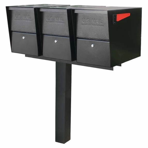 3 Mail Boss Locking Package Master Mailboxes with Post Black