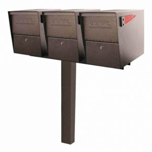 3 Mail Boss Locking Package Master Mailboxes with Post Bronze