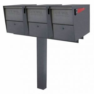 3 Mail Boss Locking Package Master Mailboxes with Post Granite