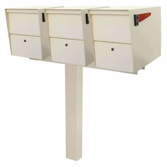 3 Mail Boss Locking Package Master Mailboxes with Post White