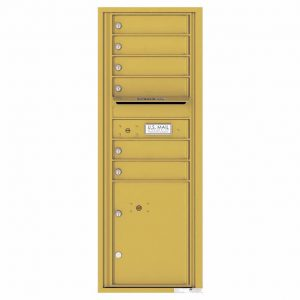 Florence Versatile Front Loading 4C Commercial Mailbox with 6 Tenant Doors and 1 Parcel Lockers 4C13S-06 Gold Speck