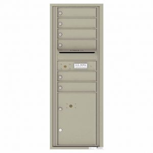 Florence Versatile Front Loading 4C Commercial Mailbox with 6 Tenant Doors and 1 Parcel Lockers 4C13S-06 Postal Grey