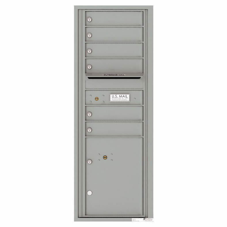 Florence Versatile Front Loading 4C Commercial Mailbox with 6 Tenant Doors and 1 Parcel Lockers 4C13S-06 Silver Speck