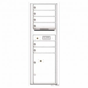 Florence Versatile Front Loading 4C Commercial Mailbox with 6 Tenant Doors and 1 Parcel Lockers 4C13S-06 White