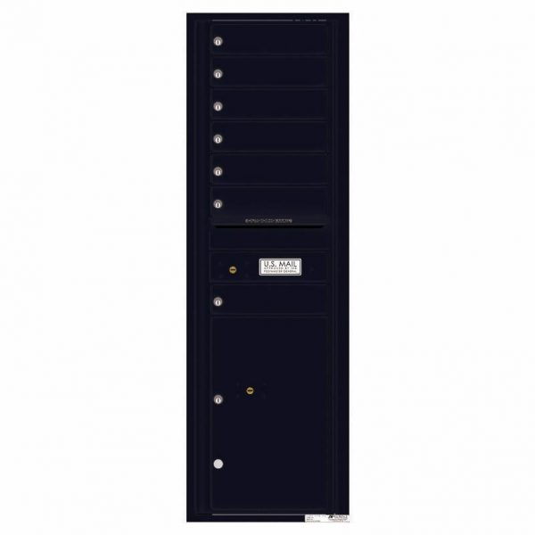 Florence Versatile Front Loading 4C Commercial Mailbox with 7 Tenant Doors and 1 Parcel Lockers 4C15S-07 Black