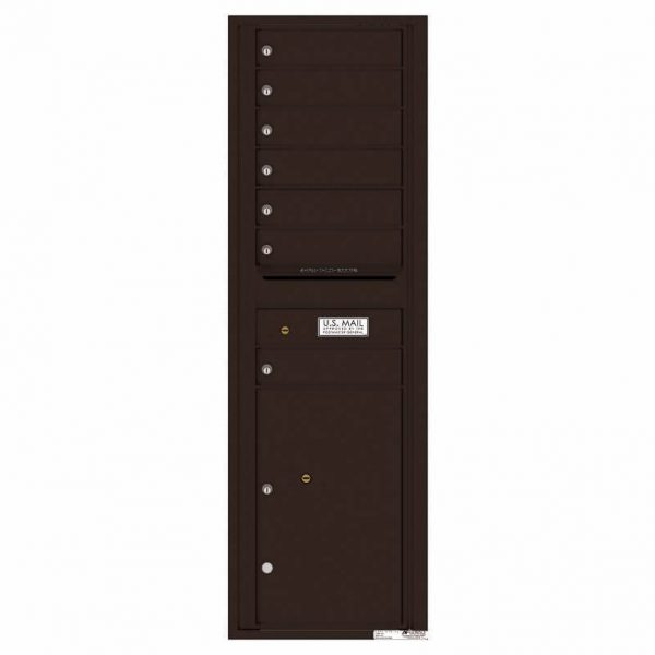 Florence Versatile Front Loading 4C Commercial Mailbox with 7 Tenant Doors and 1 Parcel Lockers 4C15S-07 Dark Bronze