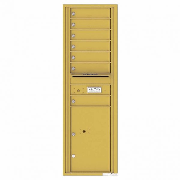 Florence Versatile Front Loading 4C Commercial Mailbox with 7 Tenant Doors and 1 Parcel Lockers 4C15S-07 Gold Speck