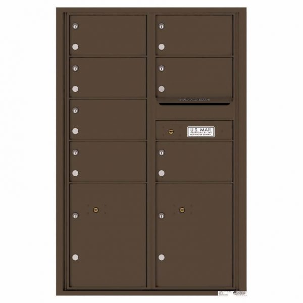 Florence Versatile Front Loading 4C Commercial Mailbox with 7 Tenant Doors and 2 Parcel Lockers 4C13D-07 Antique Bronze