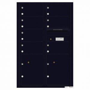 Florence Versatile Front Loading 4C Commercial Mailbox with 7 Tenant Doors and 2 Parcel Lockers 4C13D-07 Black