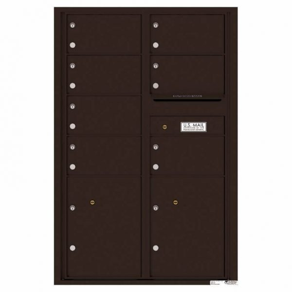 Florence Versatile Front Loading 4C Commercial Mailbox with 7 Tenant Doors and 2 Parcel Lockers 4C13D-07 Dark Bronze