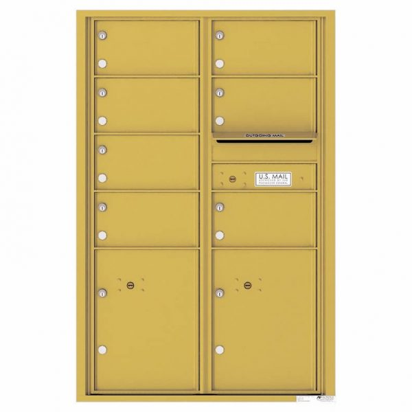 Florence Versatile Front Loading 4C Commercial Mailbox with 7 Tenant Doors and 2 Parcel Lockers 4C13D-07 Gold Speck