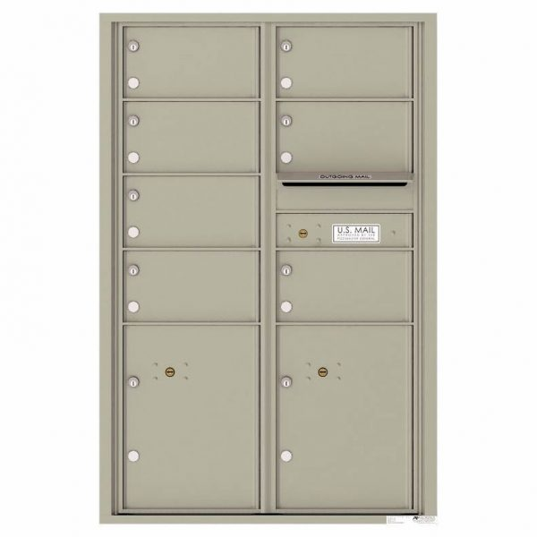 Florence Versatile Front Loading 4C Commercial Mailbox with 7 Tenant Doors and 2 Parcel Lockers 4C13D-07 Postal Grey
