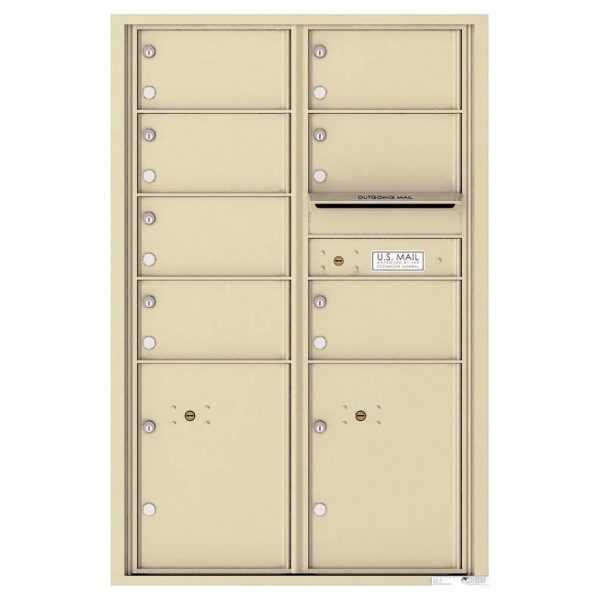 Florence Versatile Front Loading 4C Commercial Mailbox with 7 Tenant Doors and 2 Parcel Lockers 4C13D-07 Sandstone
