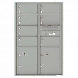 Florence Versatile Front Loading 4C Commercial Mailbox with 7 Tenant Doors and 2 Parcel Lockers 4C13D-07 Silver Speck