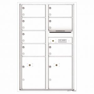 Florence Versatile Front Loading 4C Commercial Mailbox with 7 Tenant Doors and 2 Parcel Lockers 4C13D-07 White