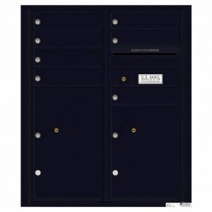 Florence Versatile Front Loading 4C Commercial Mailbox with 7 Tenant Doors and 2 Parcel Lockers 4CADD-07 Black