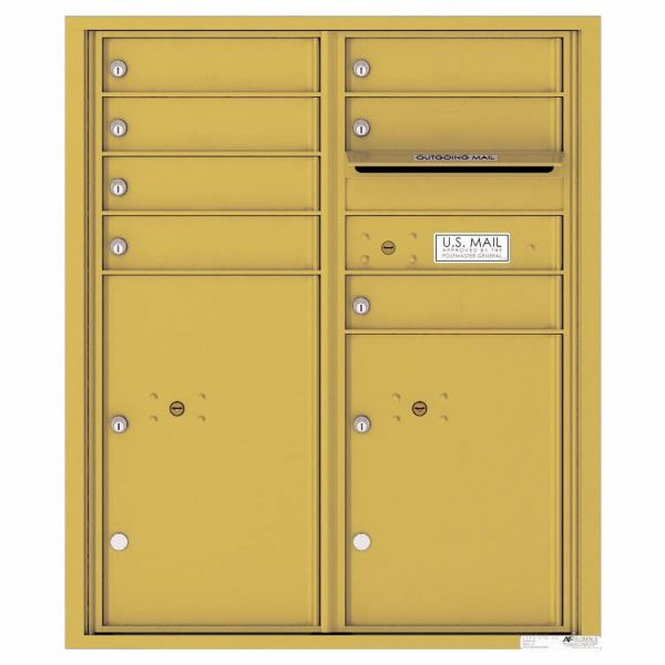 Florence Versatile Front Loading 4C Commercial Mailbox with 7 Tenant Doors and 2 Parcel Lockers 4CADD-07 Gold Speck