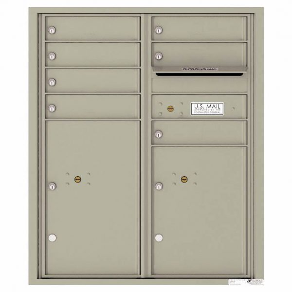 Florence Versatile Front Loading 4C Commercial Mailbox with 7 Tenant Doors and 2 Parcel Lockers 4CADD-07 Postal Grey