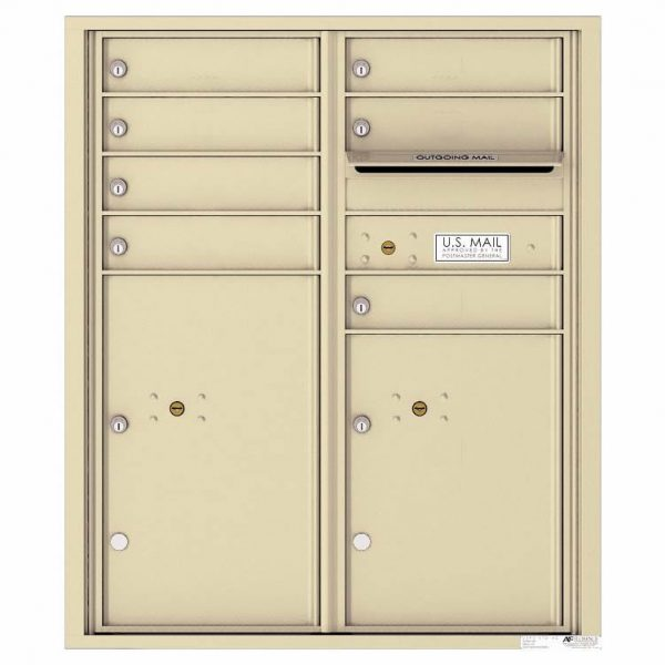 Florence Versatile Front Loading 4C Commercial Mailbox with 7 Tenant Doors and 2 Parcel Lockers 4CADD-07 Sandstone