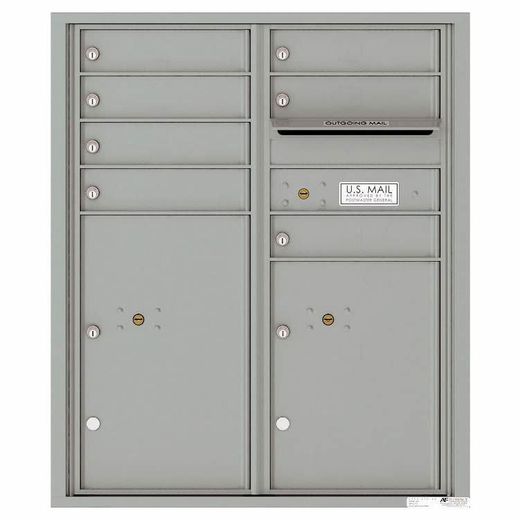 Florence Versatile Front Loading 4C Commercial Mailbox with 7 Tenant Doors and 2 Parcel Lockers 4CADD-07 Silver Speck