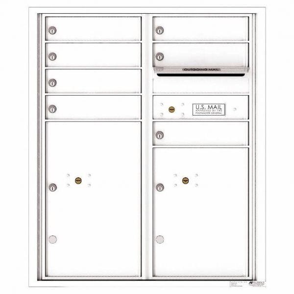 Florence Versatile Front Loading 4C Commercial Mailbox with 7 Tenant Doors and 2 Parcel Lockers 4CADD-07 White