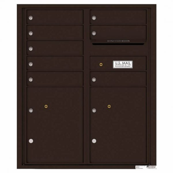 Florence Versatile Front Loading 4C Commercial Mailbox with 8 tenant Doors and 2 Parcel Lockers 4CADD-08 Dark Bornze