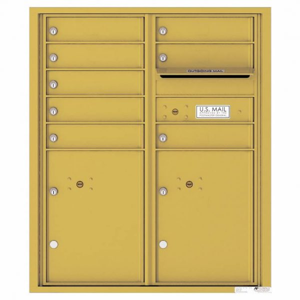 Florence Versatile Front Loading 4C Commercial Mailbox with 8 tenant Doors and 2 Parcel Lockers 4CADD-08 Gold Speck