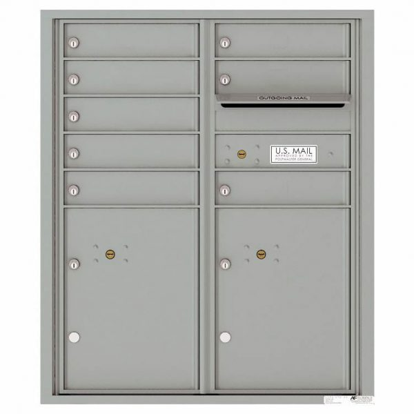 Florence Versatile Front Loading 4C Commercial Mailbox with 8 tenant Doors and 2 Parcel Lockers 4CADD-08 Silver Speck