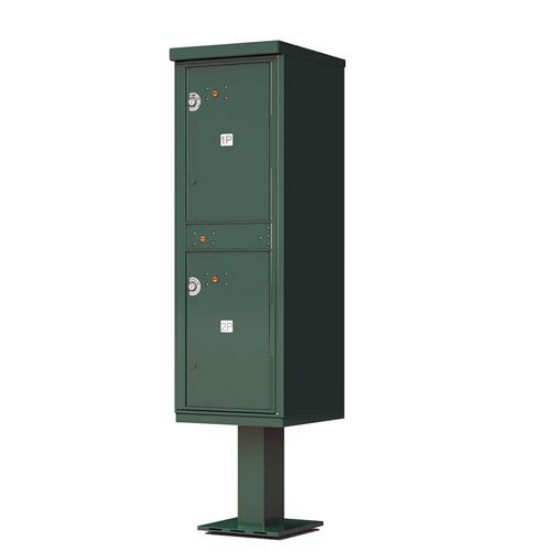 2 – Door Florence Outdoor Parcel Locker with Pedestal Forest Green